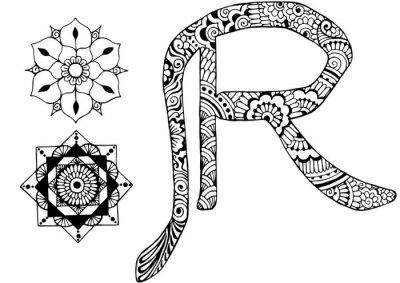 Obraz písmeno R zařízeny ve stylu mehndi