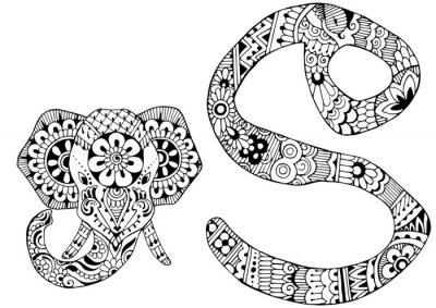 Obraz písmeno S zařízeny ve stylu mehndi