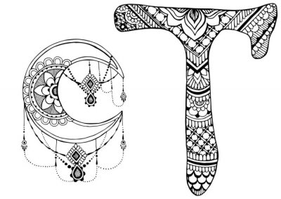 Obraz písmeno T zařízeny ve stylu mehndi