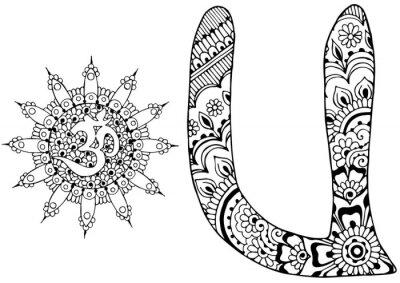 Obraz písmeno U zařízeny ve stylu mehndi