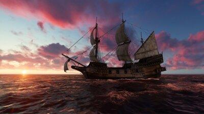 Obraz Plachetnice na moři večer při západu slunce 3d ilustrace