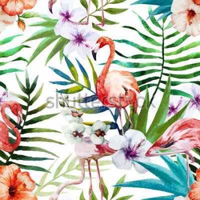 Obraz Plameňáci, akvarel, tropy, vzor