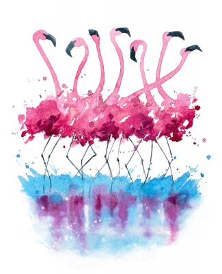 Obraz Plameňáci akvarelu