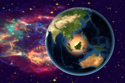 Obraz Planet Earth on the background with stars and galaxies, the Earth from space showing Indonesia, Australia, India and Malaysia on globe in the night time, elements of this image furnished by NASA