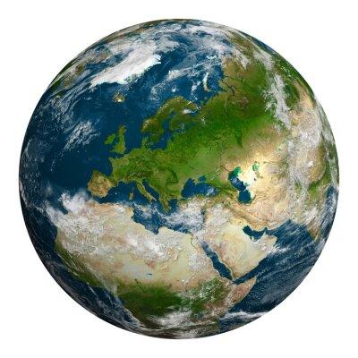 Obraz Planeta Země s mraky. Evropa, část Afriky a Asie.