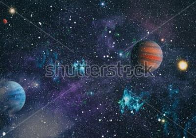 Obraz planety, hvězdy a galaxie ve vesmíru, které ukazují krásu průzkumu vesmíru. Prvky poskytl NASA