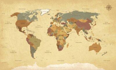 Obraz Planisphere Mappemonde Vintage - Nabídkové listy en français. vektor CMJN