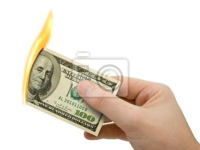 planoucí peníze v ruce