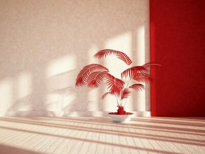 plant with the red leaves, 3d