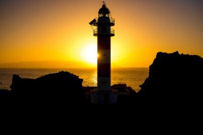 Obraz Pobřeží s majákem siluetu