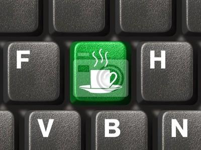 Počítačová klávesnice s kávou klíč, podnikatelský záměr