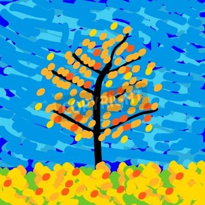 Obraz Podzimní krajina ve stylu impresionismu. Vektorové ilustrace.
