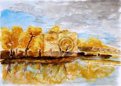 podzimní les ilustrace, akvarel