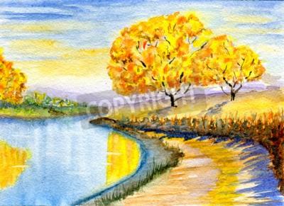 Obraz Podzimu venkově, ručně kreslených, akvarel ilustrace a papír textury