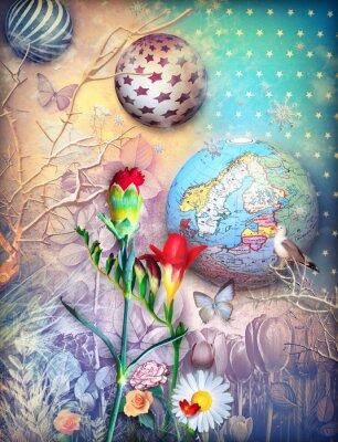 Obraz Pohádky pozadí s fleld barevných květin