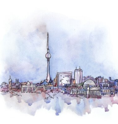 Obraz pohled na Berlín akvarel Evropské unie země na bílém pozadí