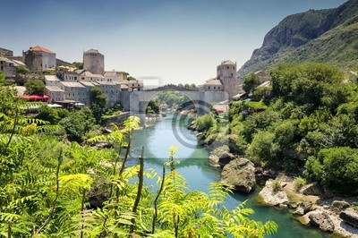 Pohled na Starý most v Mostaru, Bosně a Hercegovině