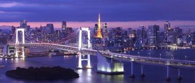 Obraz pohled na tokijské zátoce, Duhový most a Tokyo Tower mezník