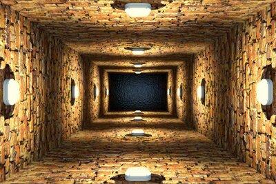 Obraz Pohled shora na starou zaplavenou výtahovou šachtu nebo studnu s cihlovými stěnami a bodovými světly