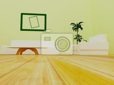 pohovka, stůl, křeslo v místnosti, 3d