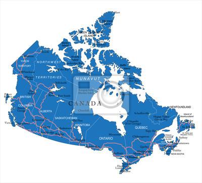 Politická mapa Kanady