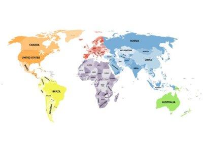 Obraz politická mapa světa na bílém pozadí.