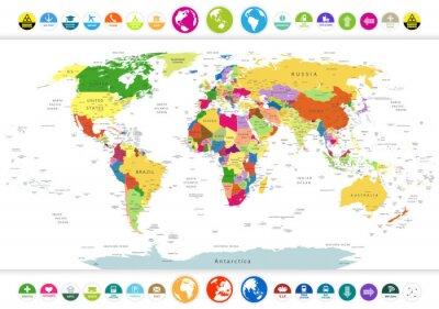 Obraz Politická mapa světa s plochými ikonami a globusy