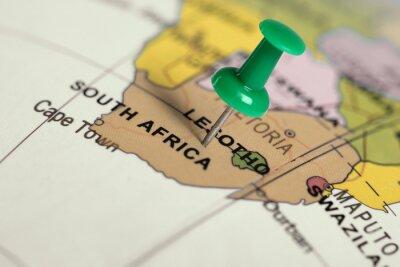 Obraz Poloha South Africa. Zelený pin na mapě.