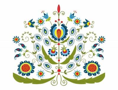 Obraz Polski Wzór z dekoracyjnymi kwiatami