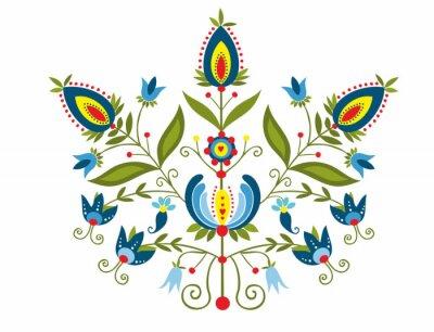 Obraz Polski Wzór z ozdobnymi kwiatami