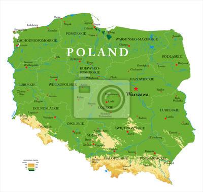 Polsko mapa reliéfu