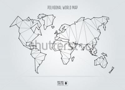 Obraz Polygonal abstract world map. Vector illustration.