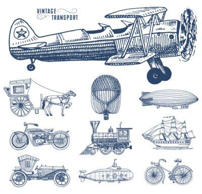 Obraz Ponorka, loď a auto, motorka, kočárem. Vzducholodí nebo dirigible, vzduchový balón, letadla kukuřice, lokomotiva. Rytá ruka kreslená ve starém stylu náčrtu, vintage přeprava cestujících.