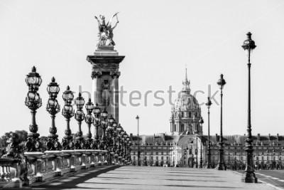 Obraz Pont Alexandre III most přes řeku Seinu a Hotel des Invalides v pozadí za slunečného letního rána. Most zdobený ozdobnými secesními lampami a sochami. Paříž, Francie