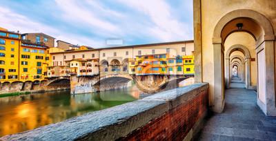 Ponte Vecchio bridge and riverside promenade in Florence, Italy