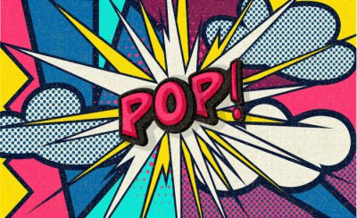 Obraz Pop! Pop art funny comic speech word. Fashionable poster and banner. Social Media Connecting Blog Communication Content. Trendy and fashion color retro vintage illustration background. Easy editable.