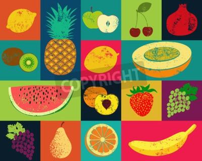 Obraz Pop Art grunge styl ovoce plakát. Kolekce retro ovoce. Vintage vektorové sada ovoce.