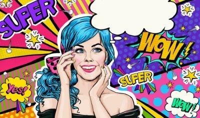 Obraz Pop Art ilustrace modré hlavy dívky na pop art background.Pop Art dívky. Pozvánka Party. Narozeninám blahopřání. Reklamní plakát. Comic žena. Romantická dívka skrývá tvář.