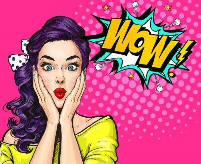 Obraz Pop Art ilustrace, překvapený girl.Comic žena. Wow.Advertising plakát. Pop Art girl. Pozvánka strany.
