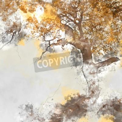 Obraz Poplar tree in autumn season, watercolor background made in computer program