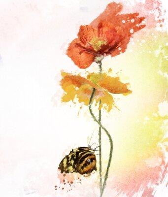 Obraz Poppy Flowers Akvarel