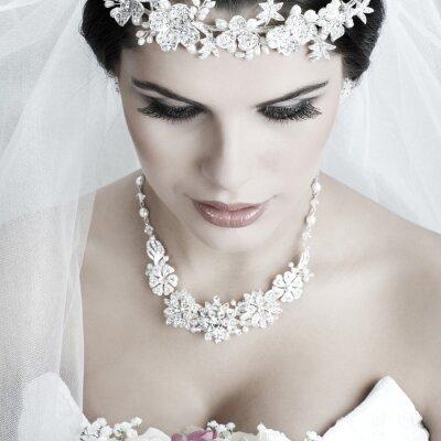 Obraz Portrét krásná nevěsta. Svatební šaty. Svatební dekorace