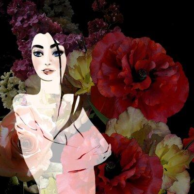 Obraz Portrét krásné brunetka na květinové pozadí