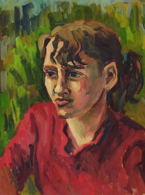 Obraz Portrét mladé dívky. Olejomalba