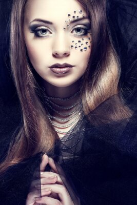Obraz Portrét sexuální krásná dívka s strasses na obličej,