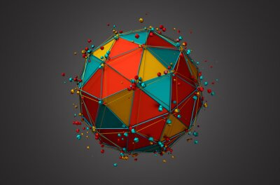Obraz Poskytování koule s Wireframe a částic.