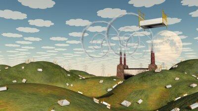 Obraz Postel ve fantasy krajiny