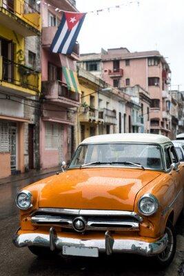 Obraz Pouliční scéna v deštivém dni v Havaně na Kubě