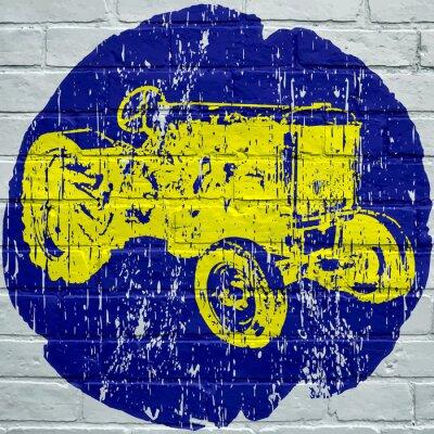 Obraz Pouliční umění. Tracteur zemědělské grunge