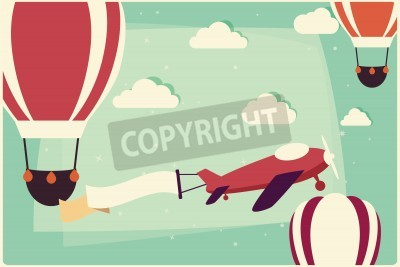 Obraz Pozadí s teplovzdušnými balónky a letoun se stuhou, vektorové ilustrace